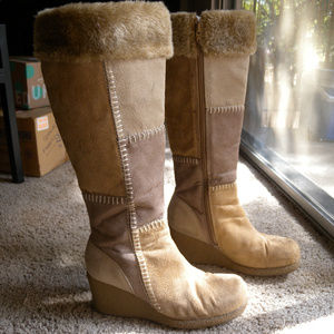 LOWER EAST SIDE Patchwork Knee High Wedge Boots